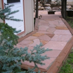 Rose Flagstone Walkway in Durango Colo Landscape Installation