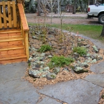 Slate Stone Walkway at Lakeside Vacation Cabin with moss rock mini garden