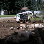 Using Equipment to prepare the soil for native trees and shrubs in durango colorado