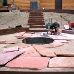 Gardenhart Landscape & Design building a flagstone patio and firepit in Durango Colorado