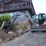 Hardscape Construction with boulders and equipment in Durango Colorado by Gardenhart